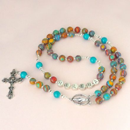 Malachite Rosary Beads with Name